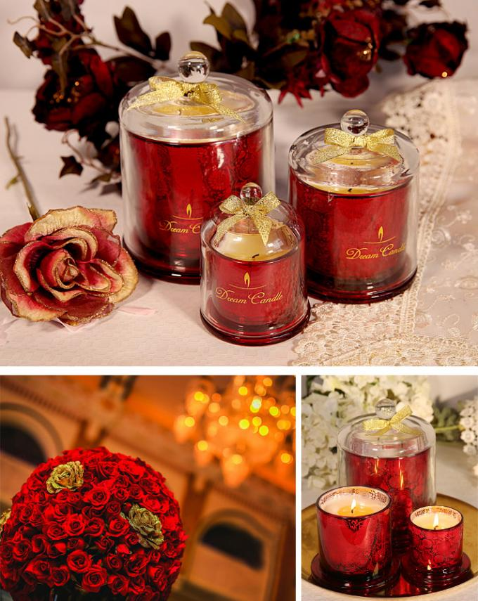 Fashion Scented Jar Candle Soy Wax Carved Glass Domed Candle Jar For Home / Wedding