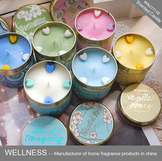 China Soy Wax Scented Tin Candles , Handmade Non Toxic Long Lasting Scented Candles factory