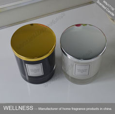 China Clean Burning Natural Soy Wax Candles , Gold Lid Black Glass Candle Jars factory