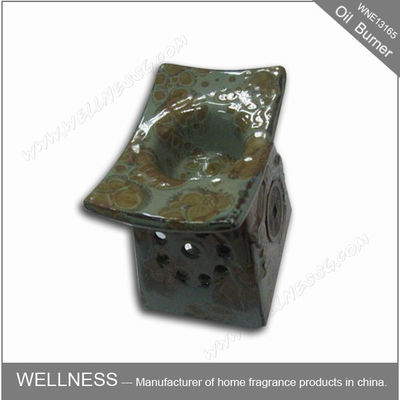 China Retro Design Ceramic Essential Oil Burner Gray Color For Home Decoration factory