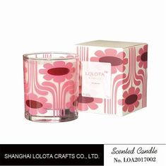 China Pink Flower Pattern Scented Soy Wax Candle For Change The Home Atmosphere factory