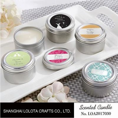 China Chemical Free Scented Luxury Soy Candles , Personalised Tin Candles For Bathroom factory