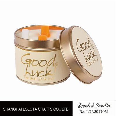 China Really Good Smelling Scented Tin Candles With Round And Top Printing Sticker factory