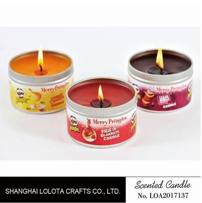 China Small Exquisite Wax Scented Tin Candles Round Sticker For Travel And Festival factory