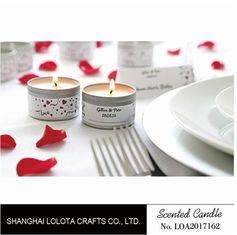 China Silver And Golden Color Beautiful Scented Candles , Soy Wax Small Tin Candles factory