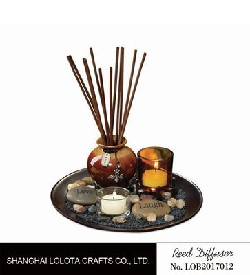 China Brown Room Reed Diffuser For Large Room , Ceramic Aromatherapy Diffuser factory