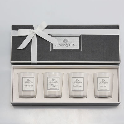 China Birthday Gift Home Decoration Scented Soy Wax Candle Set With Luxury Ribbon Box factory