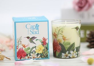 Applique Design Home Scented Candles Glass Jar For Home Decoration