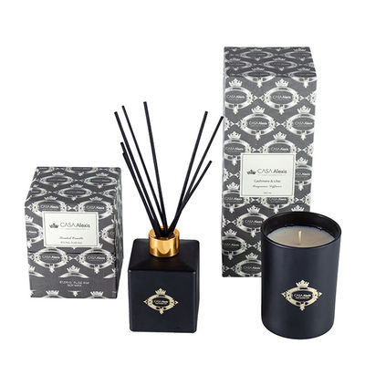 China Black Gold Candle And Diffuser Gift Set / Luxury Aromatherapy Reed Diffuser Set factory