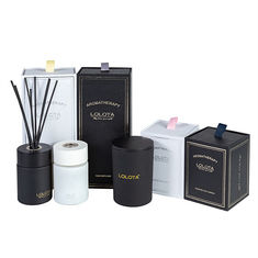 China Custom Luxury Classic Candle And Diffuser Set Frosted Soy Candle Gift Set factory