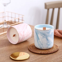 China Luxury Home Scented Candles Ceramic Marble Wooden Wick Candle Jars With Metal Lids factory