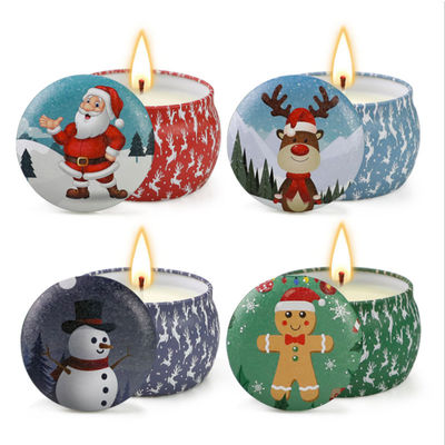 China Scented Soy Wax Cute Pattern Christmas Tin Candles Jar With Metal Lid Lightweight factory
