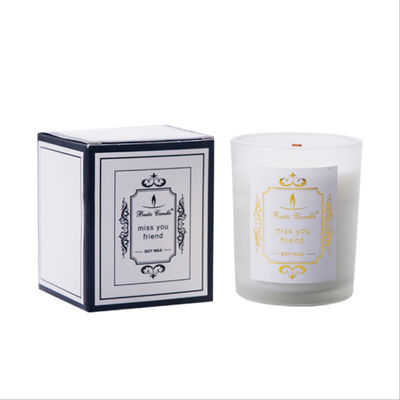 China Wood Wick Soy Wax Home Scented Candles Frosted White Glass Jars Candle Holder factory