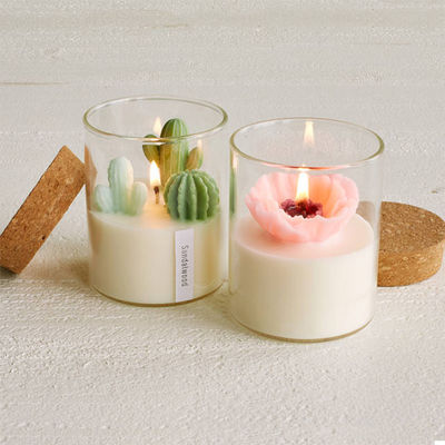 Custom Artificial Plant Non Toxic Scented Candles Soy Based Candles With Wooden Lid