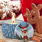 Scented Soy Wax Cute Pattern Christmas Tin Candles Jar With Metal Lid Lightweight supplier