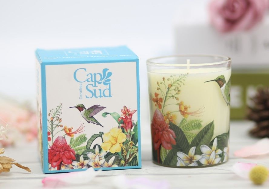 Applique Design Home Scented Candles Glass Jar For Home Decoration supplier