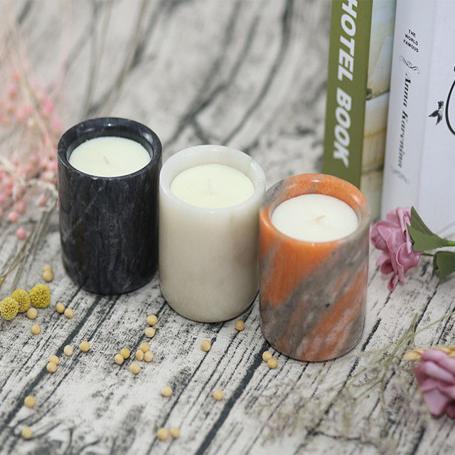 Mini Ceramic Refined Natural Soy Scented Candles Pillar Shape Ceramic Candle supplier