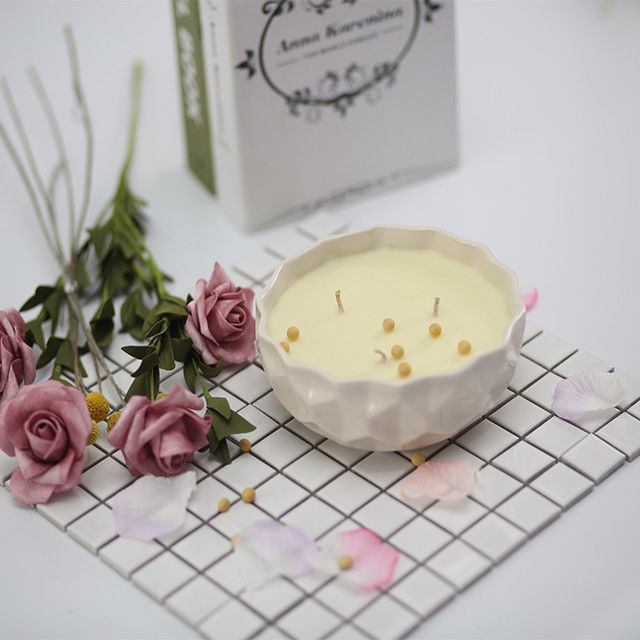 Custom Logo Scented Soy Wax Candle Ceramic Marbled Jar Scented 3 Wick Soy Candle supplier