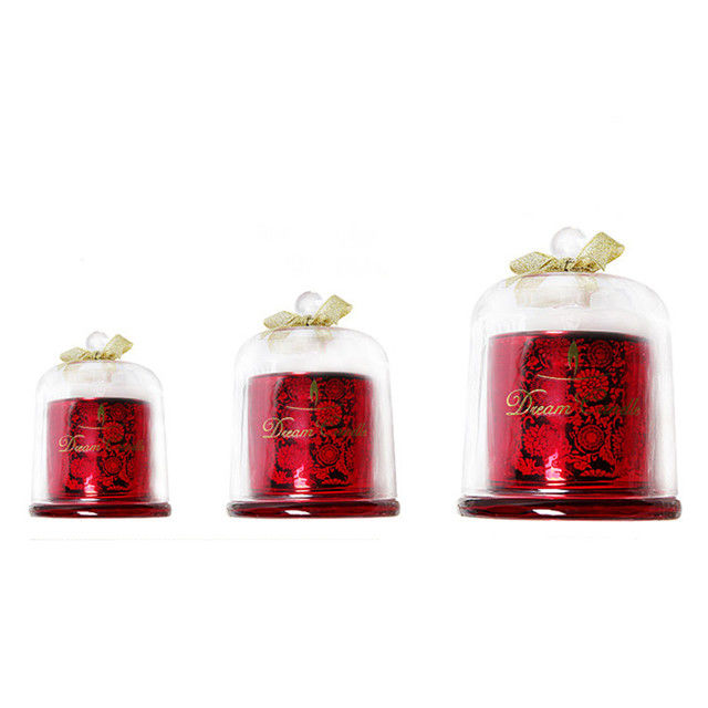 Fashion Scented Jar Candle Soy Wax Carved Glass Domed Candle Jar For Home / Wedding supplier