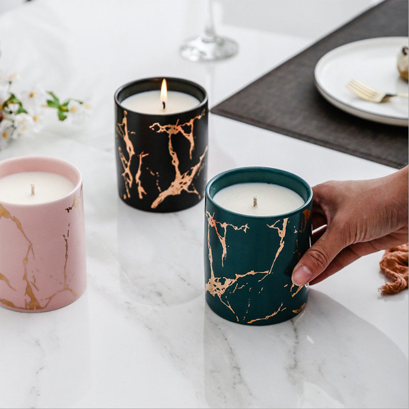 Home Decoration Scented Soy Candles Natural Scented Candles Marble Candle Jar With Lids supplier